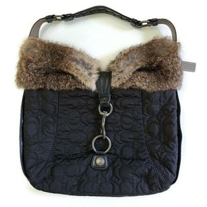 Coach Quilted Hobo Shoulder Bag with Rabbit Fur